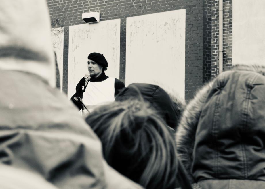 David auf der Demo am 01.03